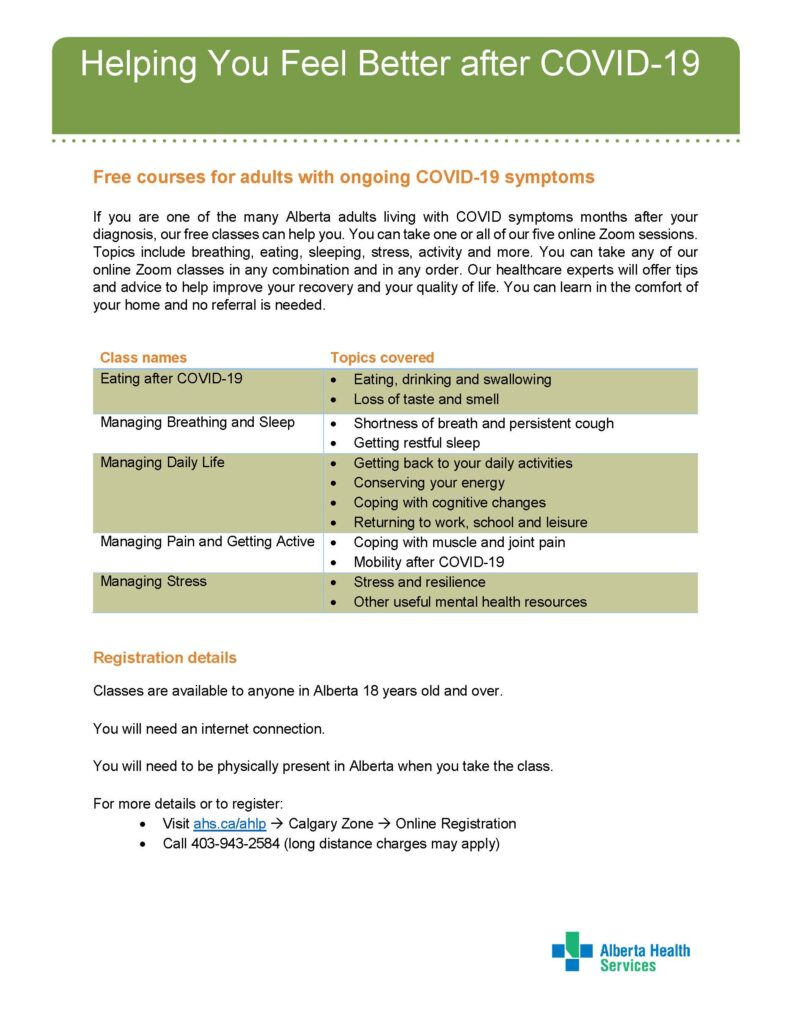 Free AHS Courses for adults with ongoing COVID-19 symptoms