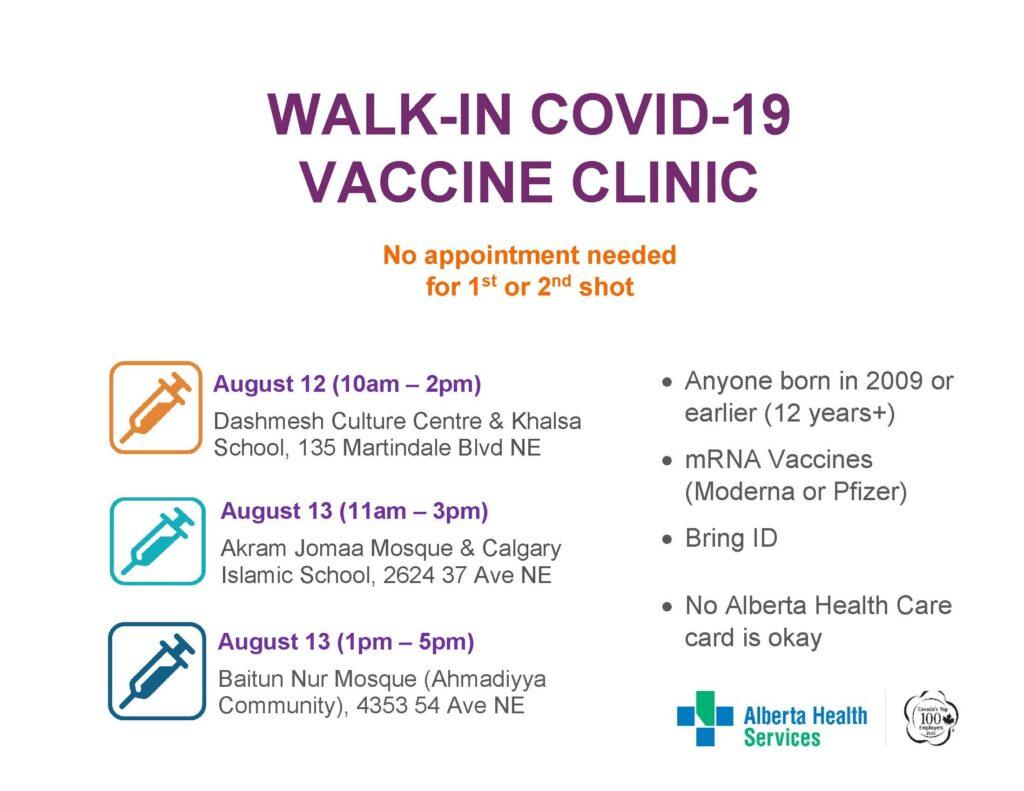 Walk-in COVID-19 Vaccine Clinics